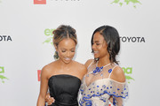 Karrueche Tran (L) and Christina Milian attend The 29th Annual Environmental Media Awards at Montage Beverly Hills on May 30, 2019 in Beverly Hills, California.