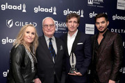 (L-R) Melissa Etheridge, James Ivory, recipient of Outstanding Film-Wide Release Award for Call Me By Your Name, Peter Spears, and Adam Lambert attend the 29th Annual GLAAD Media Awards at The Hilton Midtown on May 5, 2018 in New York City.