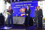 (L-R) Entrepreneur Cosmo DeNicola, football player Steven Scheu, professional football player Anquan Boldin, and sports agent Leigh Steinberg onstage during the 29th Annual Leigh Steinberg Super Bowl Party on February 6, 2016 in San Francisco, California.