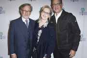 """Steven Spielberg, Meryl Streep and Tom Hanks attend the 29th Annual Palm Springs International Film Festival Opening Night Screening of """"The Post"""" at Palm Springs High School on January 4, 2018 in Palm Springs, California."""