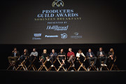 Producers Peter Spears, Emma Thomas, Sean McKittrick, Margot Robbie, Mark Gordon, Evelyn O'Neill, Barry Mendel, Amy Pascal, J. Miles Dale, graham Broadbent and Deborah Snyder attend the 29th Annual Producers Guild Awards Nominees Breakfast at the Saban Theater on January 20, 2018 in Los Angeles, California.