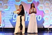 (L-R) Monique Coleman and Shaun Robinson speak onstage at the 2nd Annual Girl Up #GirlHero Awards at the Beverly Wilshire Four Seasons Hotel on October 13, 2019 in Beverly Hills, California.