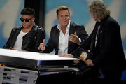 (L-R) Musician Prince Kay One, music producer Dieter Bohlen and presenter Thomas Gottschalk attend the taping of the anniversary show '30 Jahre RTL - Die grosse Jubilaeumsshow mit Thomas Gottschalk' on December 19, 2013 in Huerth, Germany.