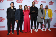 """(L-R) Just Riadh, Jose Garcia, Vanessa Guide, Tarek Boudali,a guest and Julien Arruti attend the """"30 Jours Max"""" premiere At UGC Bercy  on October 07, 2020 in Paris, France."""