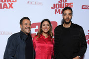 """(L-R) Jose Garcia, Vanessa Guide and Tarek Boudali attend the """"30 Jours Max"""" premiere At UGC Bercy  on October 07, 2020 in Paris, France."""