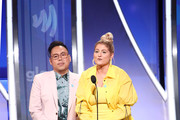 (L-R) Nico Santos and Meghan Trainor speakonstage during the 30th Annual GLAAD Media Awards Los Angeles at The Beverly Hilton Hotel on March 28, 2019 in Beverly Hills, California.