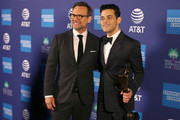 Christian Slater (L) and Rami Malek, recipient of the Breakthrough Performance Award, attend the 30th Annual Palm Springs International Film Festival Film Awards Gala at Palm Springs Convention Center on January 3, 2019 in Palm Springs, California.