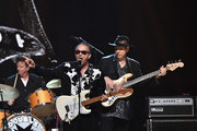 Musician Jimmie Vaughan (C) performs onstage with inductees Double Trouble, during the 30th Annual Rock And Roll Hall Of Fame Induction Ceremony at Public Hall on April 18, 2015 in Cleveland, Ohio.