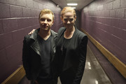 Actors Noel Fisher and Katherine Willis pose backstage at 'The Long Road Home' screening and Q&A at Culbreth Theatre during the 30th Annual Virginia Film Festival at the University of Virginia on November 10, 2017 in Charlottesville, Virginia.