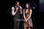 Host Zachary Levi and actress Ana Villafane speak onstage during the 31st Annual Lucille Lortel Awards at NYU Skirball Center on May 1, 2016 in New York City.