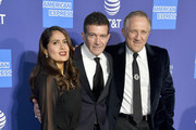 (L-R) Salma Hayek, Antonio Banderas and François-Henri Pinault attend the 31st Annual Palm Springs International Film Festival Film Awards Gala at Palm Springs Convention Center on January 02, 2020 in Palm Springs, California.