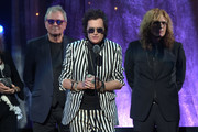 (L-R) Ian Gillian, Glenn Hughes, and David Coverdale of Deep Purple speak on stage at the 31st Annual Rock And Roll Hall Of Fame Induction Ceremony at Barclays Center on April 8, 2016 in New York City.