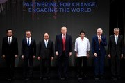 (L-R) The Association of Southeast Asian Nations (ASEAN) members Thailand's Prime Minister Prayut Chan-O-Cha, Russian Prime Minister Dmitry Medvedev, Vietnam's Prime Minister Nguyen Xuan Phuc, US President Donald Trump, Philippine President Rodrigo Duterte, Australia Prime Minister Malcolm Turnbull, Singapore's Prime Minister Lee Hsien Loong, during the Opening ceremony of the 31st ASEAN Summit in Cultural Center of the Philippines (CCP) in Manila on November 13, 2017..World leaders are in the Philippines' capital for two days of summits.  / AFP PHOTO / AFP PHOTO AND POOL / NOEL CELIS