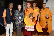 Tenzin Choegyal, Laurie Anderson and monks pose backstage during the 32nd Annual Tibet House US Benefit Concert & Gala at Carnegie Hall on February 07, 2019 in New York City.
