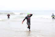 Mark Feuerstein coming out of the water after the half-mile ocean swim during the 33rd Annual Nautica Malibu Triathlon Presented By Bank Of America on September 15, 2019 in Malibu, California.