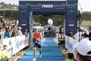Mark Feuerstein after crossing the 4-mile run finish line during the 33rd Annual Nautica Malibu Triathlon Presented By Bank Of America on September 15, 2019 in Malibu, California.