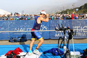 Mark Feuerstein transitions from the 17-mile bike course to the 4-mile run during the 33rd Annual Nautica Malibu Triathlon Presented By Bank Of America on September 15, 2019 in Malibu, California.