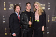 Tim Blake Nelson, Juan Castano, and Lily Rabe in the press room at the 34th Annual Lucille Lortel Awards on May 05, 2019 in New York City.