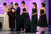 Actresses Kirin Kiki (2nd L), Yoshino Kimura (3rd R), Yui Natsukawa (2nd R) and Hikari Mitsushima (R) attend the 34th Japan Academy Aawrds at Grand Prince Hotel New Takanawa on February 18, 2011 in Tokyo, Japan.