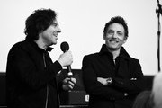 Image has been shot in black and white. Color version not available.) Andrew Slater and Jakob Dylan of 'Echo in the Canyon' speak at a screening of 'Echo in the Canyon' during the 34th Santa Barbara International Film Festival at the Lobero Theatre on February 8, 2019 in Santa Barbara, California.