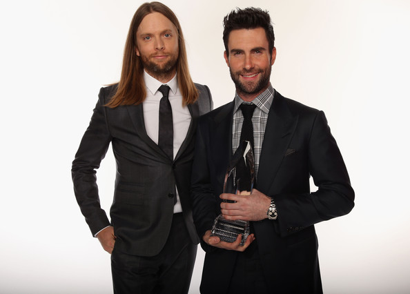 (L-R) Musicians James Valentine and Adam Levine of Maroon 5 pose for a portrait during the 39th Annual People's Choice Awards at Nokia Theatre L.A. Live on January 9, 2013 in Los Angeles, California.