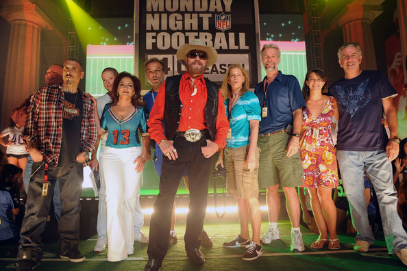 Robert Toms Kirt Webster (Webster PR), and Gloria Estefan (4th from left), Hank Williams Jr. (6th. from left), Robert Toms (8th from left, Director ESPN), Mary Michael (Webster PR) and Ken Levitan (Manager) attend the taping for the 40th Anniversary of Monday Night Football at Centennial Park in the Parthenon on June 22, 2009 in Nashville, Tennessee.