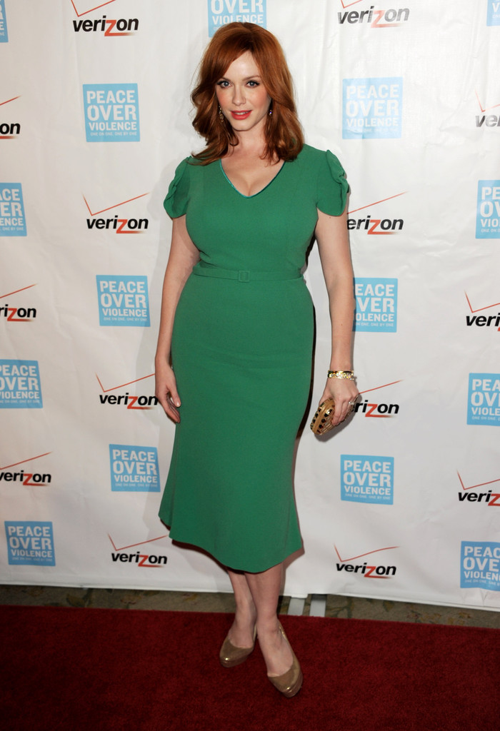 Christina Hendricks in an emerald-green dress