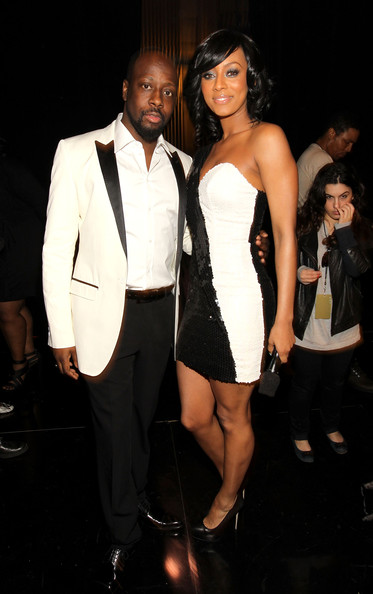 Musicians Wyclef Jean and Keri Hilson backstage at the 41st NAACP Image awards held at The Shrine Auditorium on February 26, 2010 in Los Angeles, California.