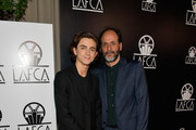 Timothee Chalamet and Luca Guadagnino attend the 43rd Annual Los Angeles Film Critics Association Awards on January 13, 2018 in Los Angeles, California.