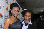 Actress Adepero Oduye (L) and guest arrive at the 43rd NAACP Image Awards held at The Shrine Auditorium on February 17, 2012 in Los Angeles, California.