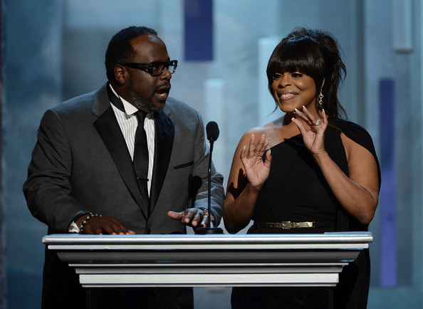 Actors Cedric the Entertainer and Niecy Nash speak onstage during the 44th NAACP Image Awards at The Shrine Auditorium on February 1, 2013 in Los Angeles, California.