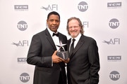 (L-R) Denzel Washington and President and CEO of AFI Bob Gazzale attend the 47th AFI Life Achievement Award honoring Denzel Washington reception at Dolby Theatre on June 06, 2019 in Hollywood, California. (Photo by Matt Winkelmeyer/Getty Images for WarnerMedia) 610484