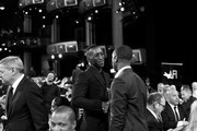Image has been shot in black and white. Color version not available.) Mahershala Ali and Michael B. Jordan attend the 47th AFI Life Achievement Award honoring Denzel Washington at Dolby Theatre on June 06, 2019 in Hollywood, California. (Photo by Charley Gallay/Getty Images for WarnerMedia) 610288