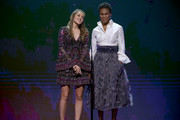 Duck Dynasty's Sadie Robertson and author Priscilla Shirer speak onstage during the 2016 Dove Awards at Allen Arena, Lipscomb University on October 11, 2016 in Nashville, Tennessee.