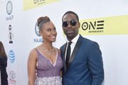 Actress Ryan Michelle Bathe (L) and actor Sterling K. Brown attend the 48th NAACP Image Awards at Pasadena Civic Auditorium on February 11, 2017 in Pasadena, California.