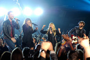 Singer Stevie Nicks (2nd R) performs with singers (L-R) Charles Kelley, Hillary Scott and Dave Haywood of Lady Antebellum onstage during the 49th Annual Academy Of Country Music Awards at the MGM Grand Garden Arena on April 6, 2014 in Las Vegas, Nevada.