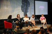 (L-R) Sara Vilkomerson, Geena Davis, Stephanie Beatriz, Natalie Morales, and Alysia Reiner speak onstage during 'The Time is Now' panel at the 4th Annual Bentonville Film Festival - Day 5 on May 5, 2018 in Bentonville, Arkansas.