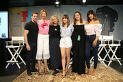 """(L-R) David Alan Basche, Alysia Reiner, Meg Ryan, Natalie Morales, Geena Davis, and Stephanie Beatriz attend the """"Geena & Freinds"""" panel at the 4th Annual Bentonville Film Festival - Day 5 on May 5, 2018 in Bentonville, Arkansas."""