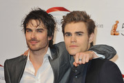 Paul Wesley (R) and Ian Somerhalder (L) arrive to attend the opening night of the 2010 Monte Carlo Television Festival held at Grimaldi Forum on June 6, 2010 in Monte-Carlo, Monaco.
