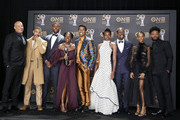 (L-R) Vin Diesel poses with Michael B. Jordan, Winston Duke, Lupita Nyong'o, Chadwick Boseman, Danai Gurira, Sterling K. Brown, Letitia Wright, and Ryan Coogler -- winner of Outstanding Directing in a Motion Picture (Film)--  winners of Outstanding Motion Picture and Outstanding Ensemble Cast in a Motion Picture for 'Black Panther', at the 50th NAACP Image Awards at Dolby Theatre on March 30, 2019 in Hollywood, California.