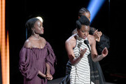 (L-R) Lupita Nyong'o, Danai Gurira, and Letitia Wright speak onstage at the 50th NAACP Image Awards at Dolby Theatre on March 30, 2019 in Hollywood, California.