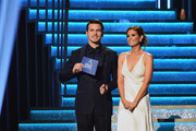 Actors Jason Ritter and JoAnna Garcia Swisher speak onstage at the 51st annual CMA Awards at the Bridgestone Arena on November 8, 2017 in Nashville, Tennessee.
