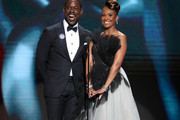 (L-R) Sterling K. Brown and Ryan Michelle Bathe speak onstage during the 51st NAACP Image Awards, Presented by BET, at Pasadena Civic Auditorium on February 22, 2020 in Pasadena, California.