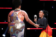 (L-R) Lizzo accepts Entertainer of the Year from Janelle Monáe onstage during the 51st NAACP Image Awards, Presented by BET, at Pasadena Civic Auditorium on February 22, 2020 in Pasadena, California.