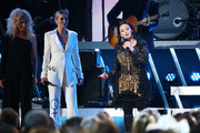 (FOR EDITORIAL USE ONLY)  (L-R) Kimberly Schlapman of Little Big Town, Jennifer Nettles and Crystal Gayle perform onstage during the 53rd annual CMA Awards at the Bridgestone Arena on November 13, 2019 in Nashville, Tennessee.