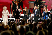 (FOR EDITORIAL USE ONLY) (L-R) Dolly Parton, Amanda Shires, Maren Morris, Brandi Carlile and Natalie Hemby of The Highwomen perform onstage during the 53rd annual CMA Awards at the Music City Center on November 13, 2019 in Nashville, Tennessee.