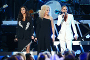 (FOR EDITORIAL USE ONLY) (L-R) Karen Fairchild and Kimberly Schlapman of musical group Little Big Town and Jennifer Nettles perform onstage during the 53rd annual CMA Awards at the Bridgestone Arena on November 13, 2019 in Nashville, Tennessee.