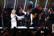 (FOR EDITORIAL USE ONLY) (L-R) Dolly Parton, Luke Smallbone of For King & Country and Zach Williams perform onstage during the 53rd annual CMA Awards at the Music City Center on November 13, 2019 in Nashville, Tennessee.