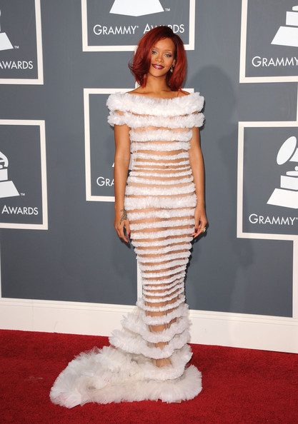 Singer Rihanna arrives at The 53rd Annual GRAMMY Awards held at Staples Center on February 13, 2011 in Los Angeles, California.