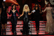 (L-R) Singers Yolanda Adams, Martina McBride, Christina Aguilera, Jennifer Hudson and Florence Welch onstage during The 53rd Annual GRAMMY Awards held at Staples Center on February 13, 2011 in Los Angeles, California.
